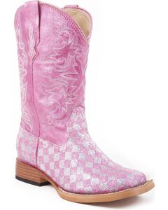 Roper Girls' Pink Glitter Checker Cowgirl Boots, , hi-res
