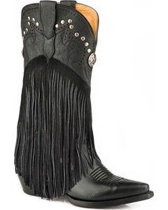 Roper Women's Concha Fringe Cowgirl Boots - Snip Toe, Black, hi-res