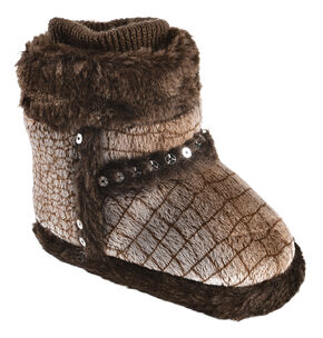 Blazin Roxx Infant Girls' Heart Brown Plush Bootie Slippers, Brown, hi-res