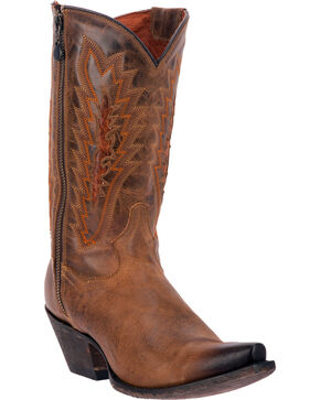 Dan Post Trish Outer Zipper Cowgirl Boots - Snip Toe, Tan, hi-res