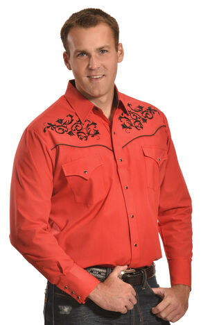 Ely Cattleman Men's Red and Black Embroidered Western Shirt , Red, hi-res