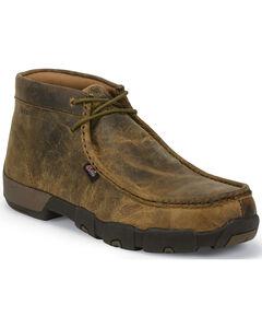 Justin Men's Waxy Dark Brown Driver Moc Shoes - Steel Toe , Brown, hi-res