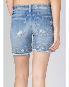 Miss Me Women's Light Indigo Studded Shorts , , hi-res