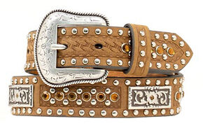 Kids' Bling & Basketweave Western Belt, Brown, hi-res