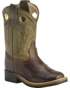Old West Toddler Boys' Stitched Olive Cowboy Boots - Square Toe, , hi-res