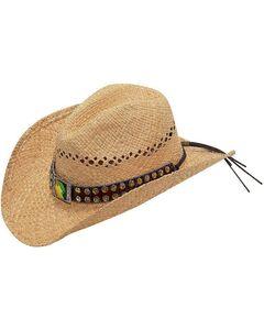 Blazin Roxx Iridescent Rhinestone & Concho Hat Band Raffia Straw Cowgirl Hat, , hi-res