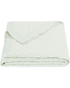 HiEnd Accents Diamond Pattern Seafoam Linen King Quilt, , hi-res