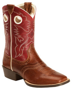 Ariat Youth Boys' Tan Roughstock Cowboy Boots - Square Toe , , hi-res