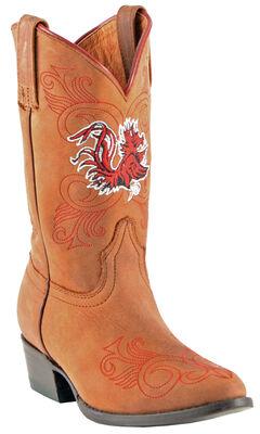 Gameday Boots Girls' University of South Carolina Western Boots - Medium Toe, Honey, hi-res