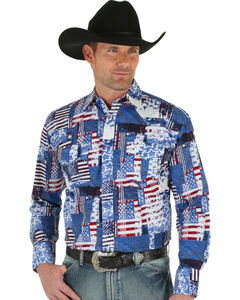 Wrangler Men's American Flag Checotah Western Shirt, , hi-res