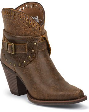 Justin Silver Women's Leather Studded Buckle Short Boots - Snip Toe, Rust, hi-res