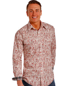 Rough Stock by Panhandle Slim Red Paisley Western Snap Shirt , , hi-res