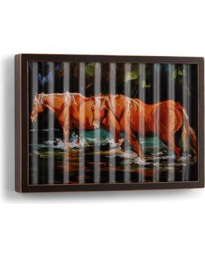 Big Sky Carvers Horses in Water Corrugated Metal Art, Dark Brown, hi-res