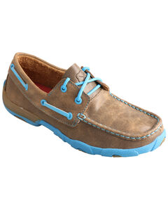 Twisted X Kids' Brown and Neon Blue Driving Mocs , , hi-res