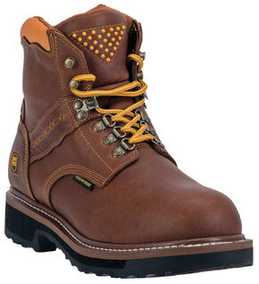 Dan Post Gripper Zipper Waterproof Lacer Boots - Steel Toe, Brown, hi-res