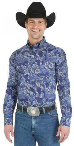 Wrangler George Strait Blue Paisley Western Shirt - Big and Tall, , hi-res