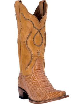 Dan Post Honey Okeechobee Python Cowboy Boots - Snip Toe , Honey, hi-res