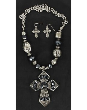Blazin Roxx Navy Blue Beaded Cross Pendant Necklace & Earrings Set, Silver, hi-res