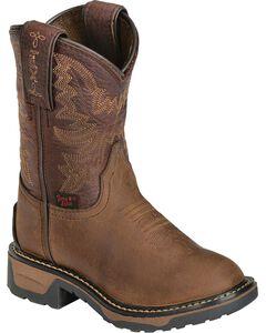 Tony Lama Boys' Crazy Horse Western Work Boots - Round Toe, , hi-res