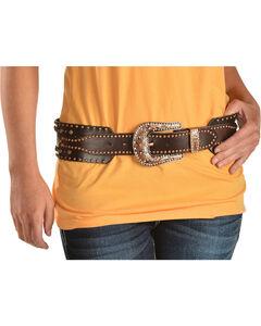 Angel Ranch Women's Studded Leather Belt, , hi-res