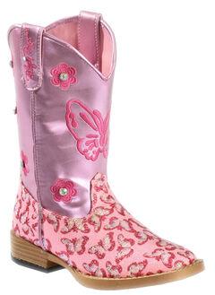 Blazin Roxx Girls' Pink Pecos Glitter Cowgirl Boots - Square Toe, , hi-res