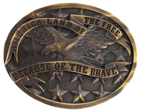 Cody James Men's Land of the Free Buckle, Silver, hi-res