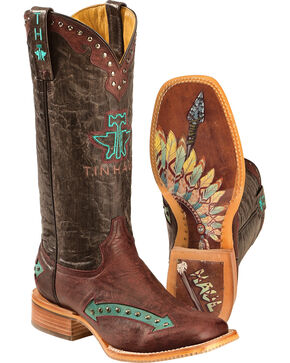 Tin Haul Arrowhead Cowgirl Boots - Square Toe, Red, hi-res