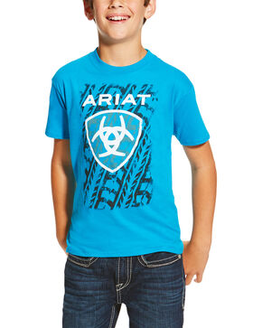 Ariat Boys' Turquoise Tire Tracks T-Shirt , Turquoise, hi-res