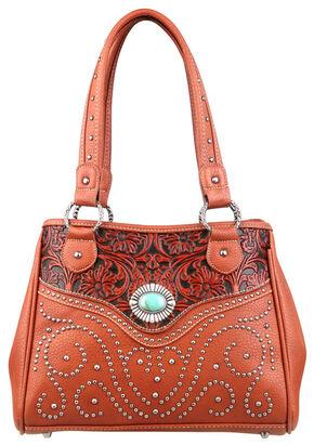 Montana West Trinity Ranch Tooled Design Handbag, Brown, hi-res