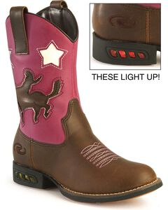 Roper Toddler Girls' Light Up Pink Bronco Cowgirl Boots, , hi-res