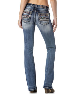 Miss Me Women's Tribal Embellished Pocket Jeans - Boot Cut , Indigo, hi-res