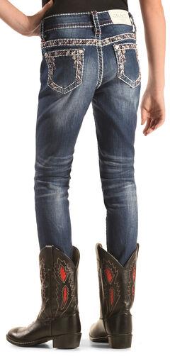 Grace in LA Girls' Embroidered Border Skinny Jeans , , hi-res