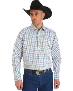Wrangler Men's Wrinkle Resistant White Plaid Shirt - Big and Tall , White, hi-res