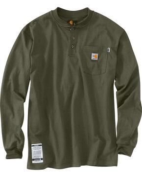 Carhartt Flame Resistant Force Cotton Henley Shirt, Moss, hi-res
