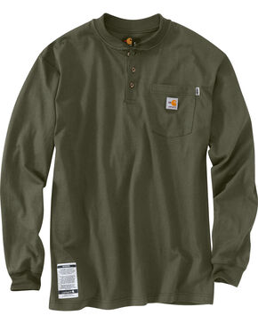 Carhartt Flame Resistant Force Cotton Henley Shirt - Big & Tall, Moss, hi-res