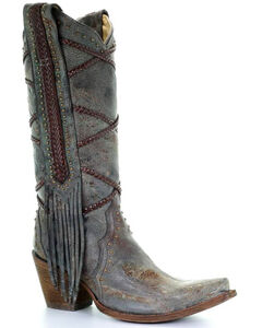 Corral Women's Braided Fringe Cowgirl Boots - Snip Toe, , hi-res