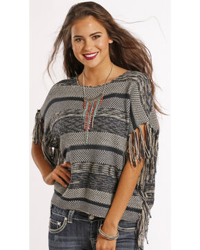 Panhandle Slim Women's Fringe Poncho Sweater, Navy, hi-res