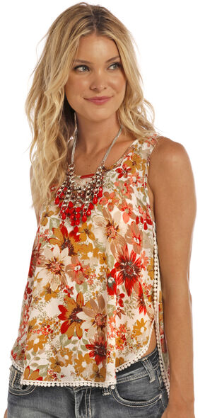Panhandle Slim Women's Natural Dot Lace Trim Top, Natural, hi-res
