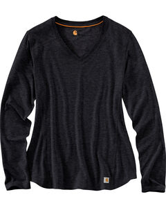 Carhartt Women's Black Force Performance Long Sleeve V-Neck Tee, , hi-res
