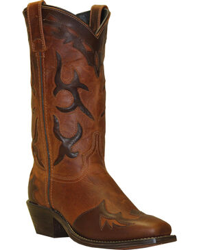 Abilene Boots Women's Distressed Inlay Wingtip Western Boots - Square Toe, Brown, hi-res