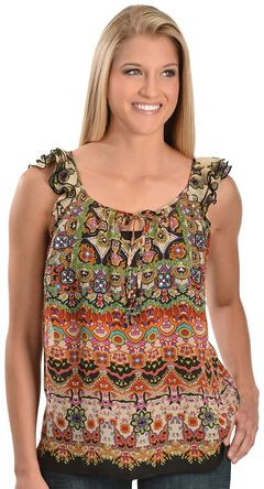 Bila Ruffled & Embellished Oriental Cap Sleeve Top, , hi-res