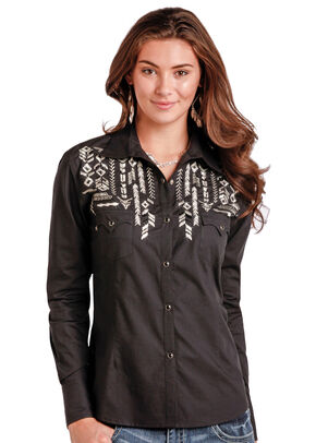 Panhandle Slim Women's Black Long Sleeve Two Pocket Shirt - Plus Size, Black, hi-res