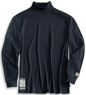 Carhartt Flame Resistant Long Sleeve Navy Mock Turtleneck - Big & Tall, Navy, hi-res