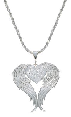 Montana Silversmiths Silver Winged Heart Necklace, , hi-res