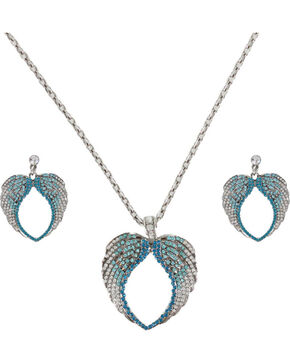 Shyanne Women's Turquoise Rhinestone Wings Jewelry Set, Silver, hi-res