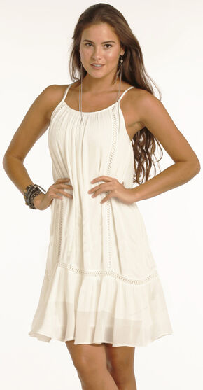 Rock & Roll Cowgirl Women's Cream Adjustable Strap Dress , Cream, hi-res