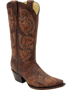 Corral Women's Brown Floral Cowgirl Boots - Snip Toe, , hi-res