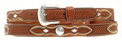 Basketweave Concho Leather Belt, , hi-res