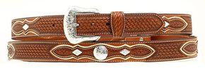 Basketweave Concho Leather Belt, Natural, hi-res