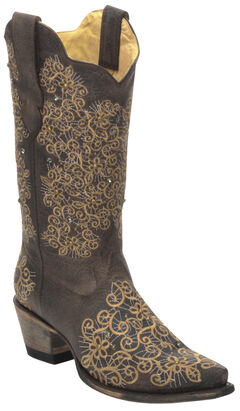 Corral Women's Brown Studded Embroidered Cowgirl Boots - Snip Toe , , hi-res